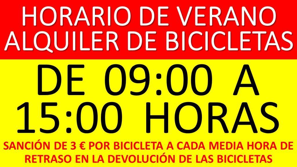 HORARIO DE VERANO ALQUILER DE BICICLETAS